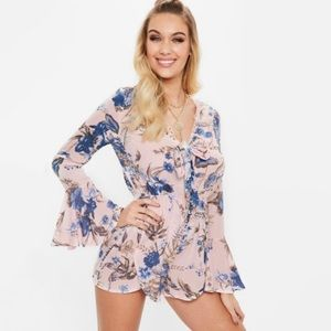 NWT Missguided Floral Bell Sleeve Tie Front Romper